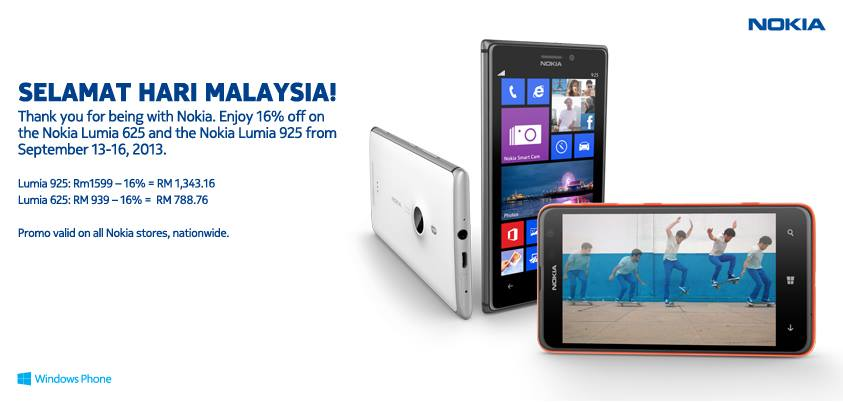 16% Discount – Nokia Lumia 625 And 925 For Malaysia Day