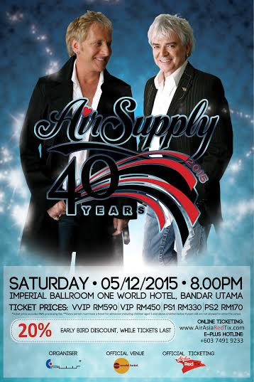 Air Supplys 40th Anniversary World Tour Finale in Malaysia