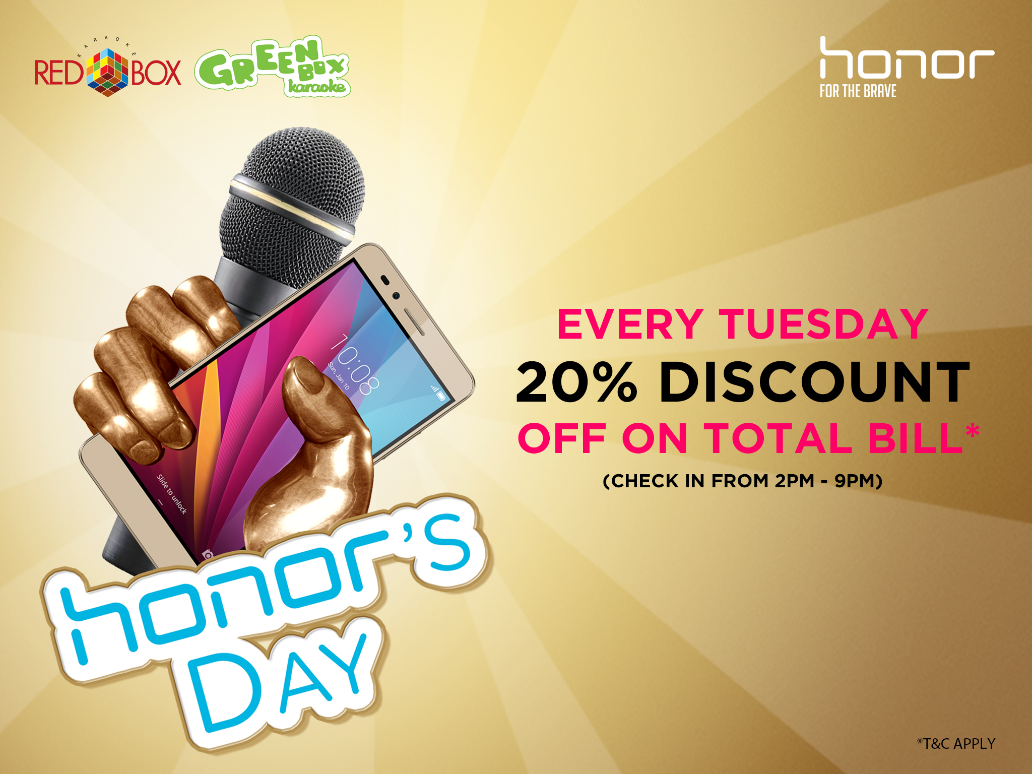 honor and  Redbox Malaysia Declare Every Tuesday as 'honor Day'