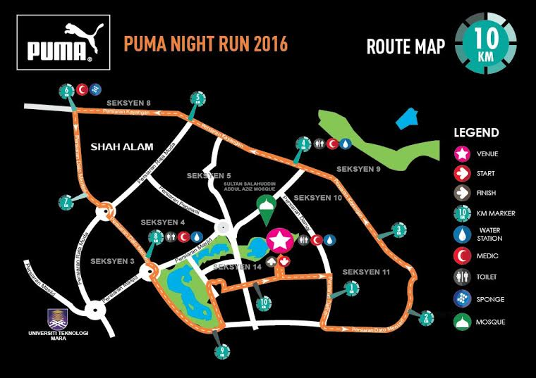 PUMA Night Run Malaysia 2016 Route Map