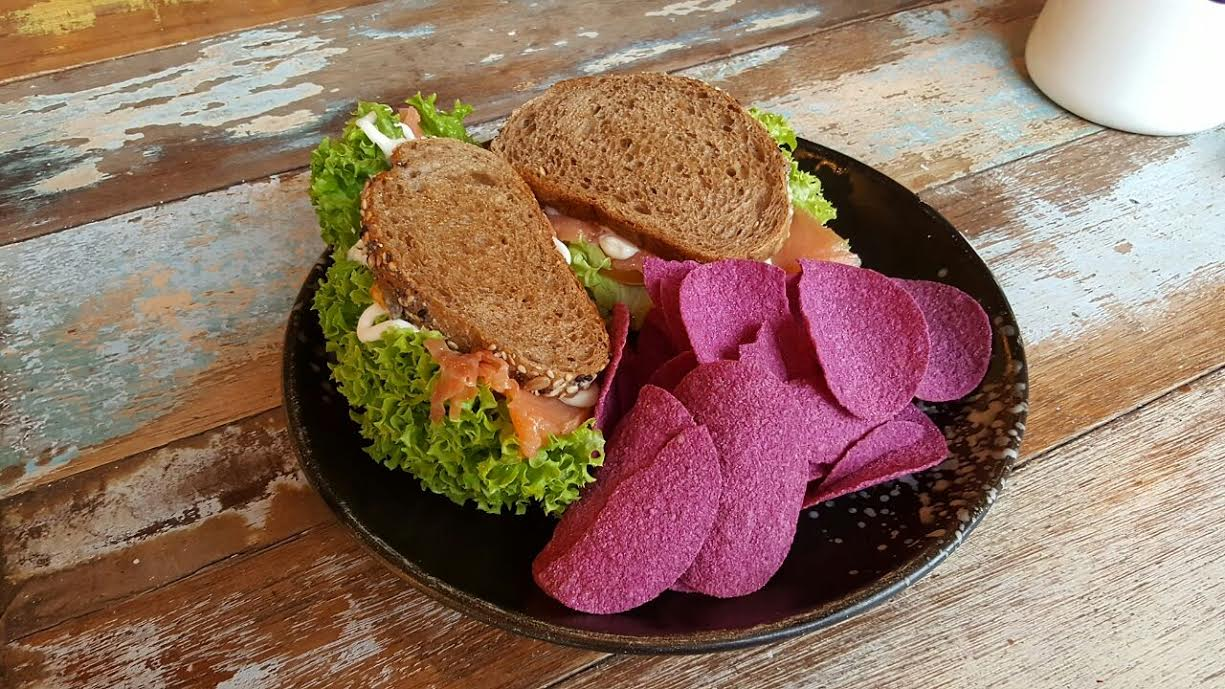 Smoked Salmon Sandwich w Mister Potato Sweet Potato Crisps