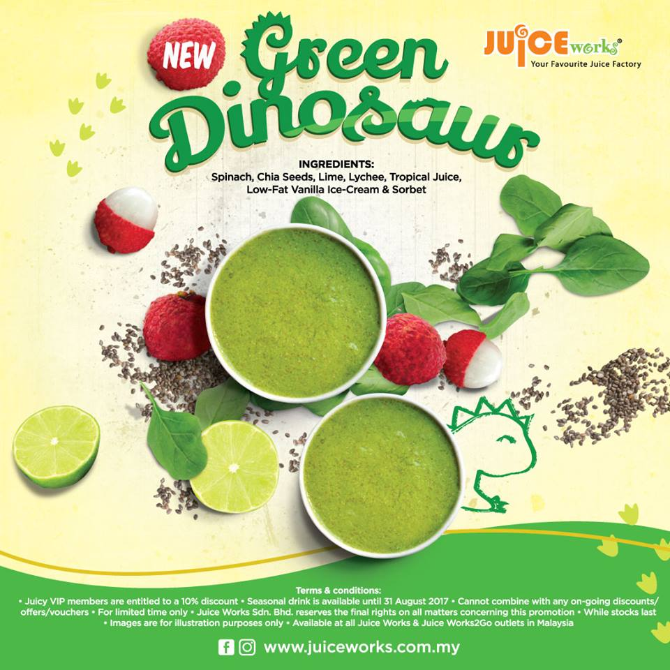 Juice Works - The Green Dinosaur is in Town!
