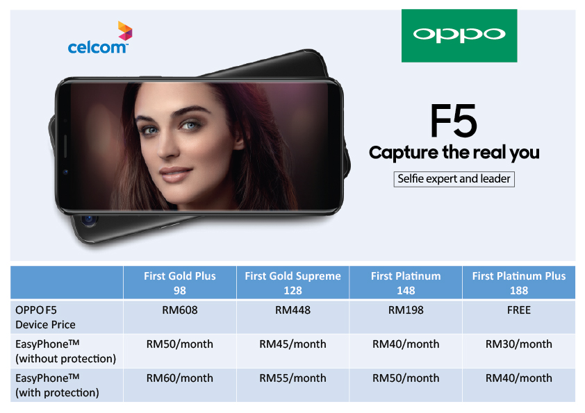 FREE OPPO F5 When Sign Up First Platinum Plus with Celcom