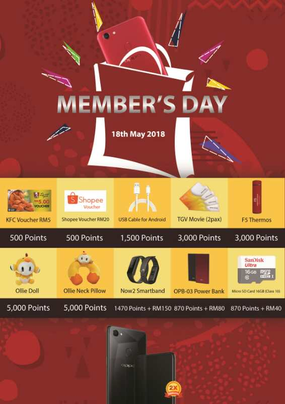 OPPO Member's Day: Double-point Reward When Purchasing OPPO F7 Series