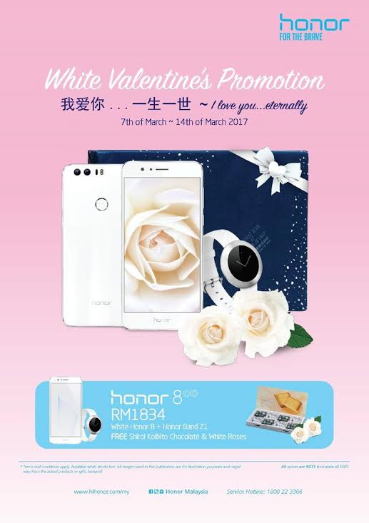 Honor 8 Pearl White for White Valentine's Day