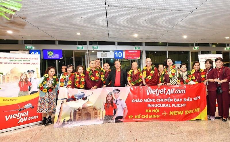 Vietjet's first flight from New Delhi to Hanoi and Ho Chi Minh City