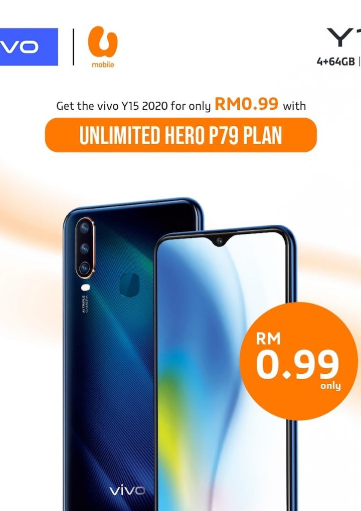 Get Vivo Y15 For Only RM0.99 with U Mobile's Unlimited HERO P79 Plan