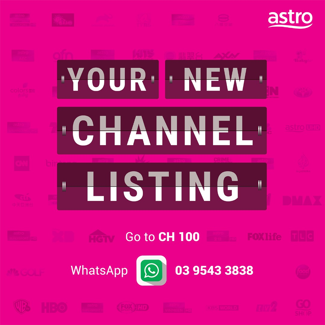New Channel Numbers from Astro 1 April 2020