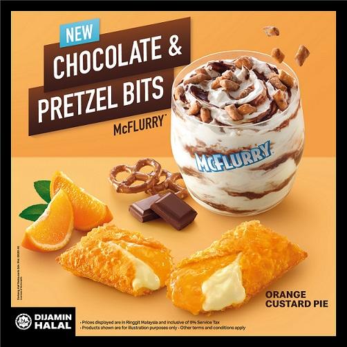 Chocolate & Pretzel Bits McFlurry and Orange Custard Pie